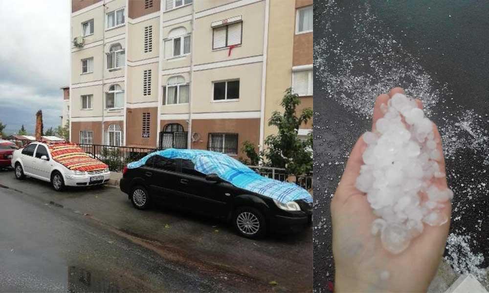 İzmir'de sağanak ve dolu yağışı