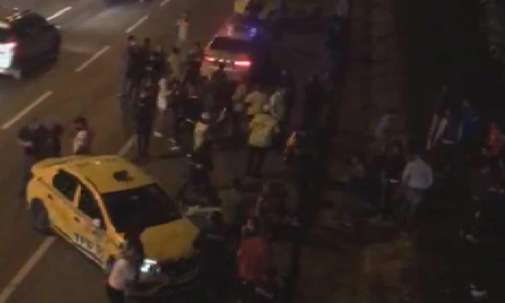 Taksiciler arasında meydan kavgası böyle görüntülendi