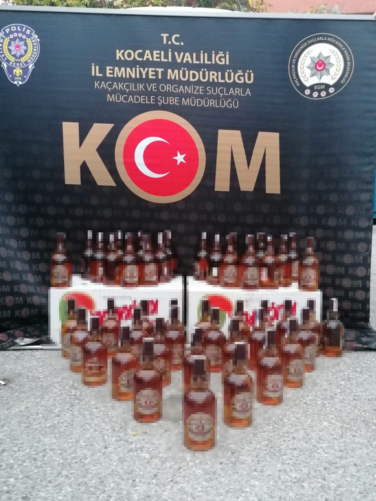 Kocaeli'de 225 litre sahte içki ele geçirildi