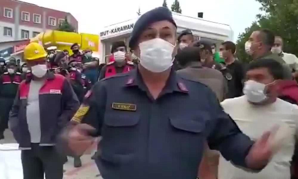 Jandarmayla işçiler arasında dikkat çeken diyalog