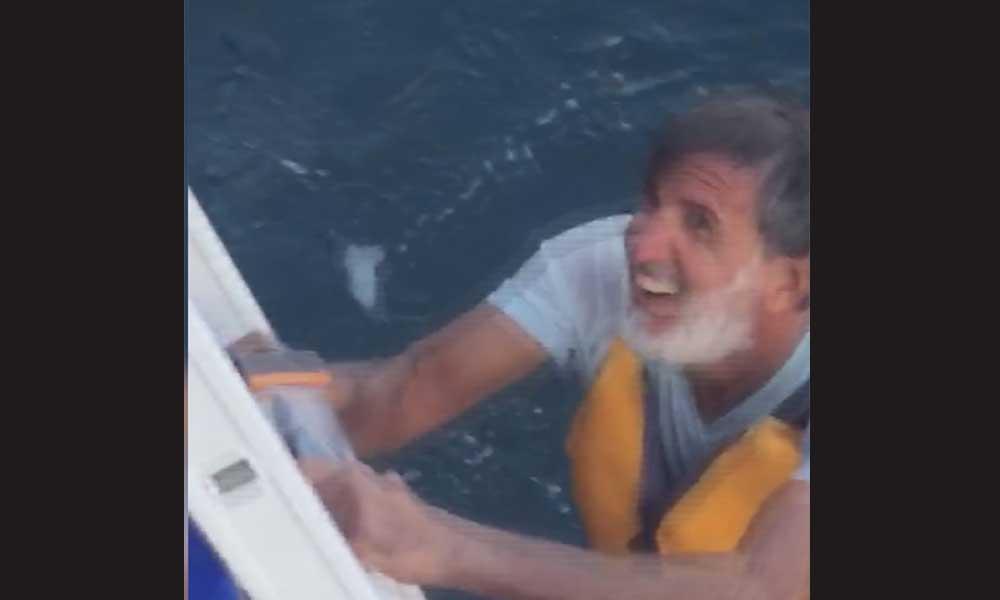 Kanodan düşerek denizde mahsur kalan kişi böyle kurtarıldı