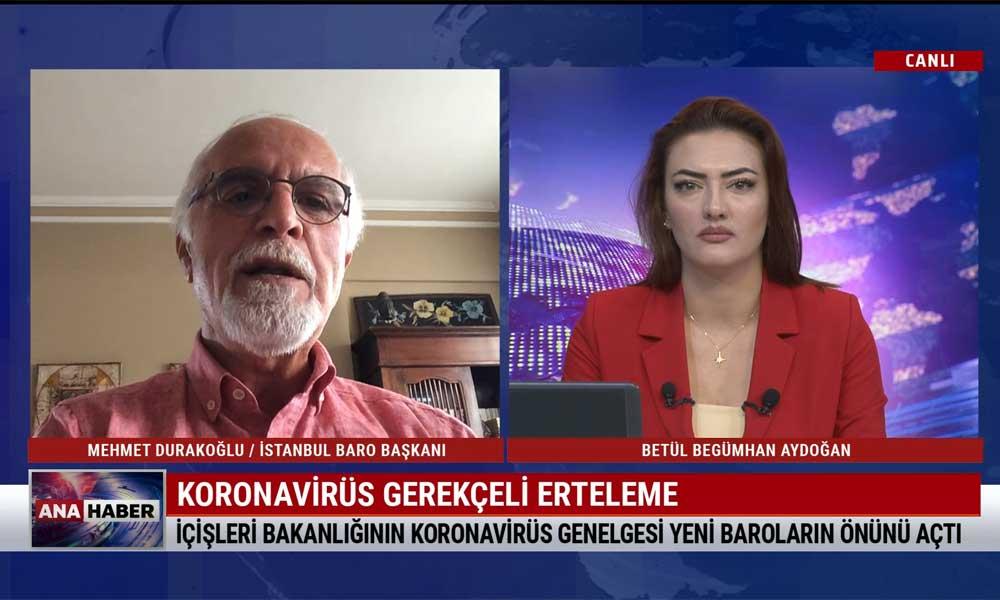 İstanbul Barosu Başkanı Mehmet Durakoğlu: YSK'nın kararı, İstanbul seçimlerinin iptali gibi vahim bir karar