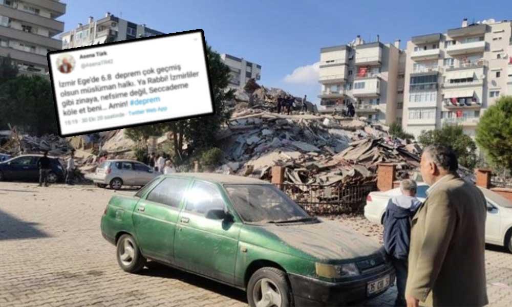 İzmir'deki depremin ardından atılan iğrenç mesaja tepki yağdı