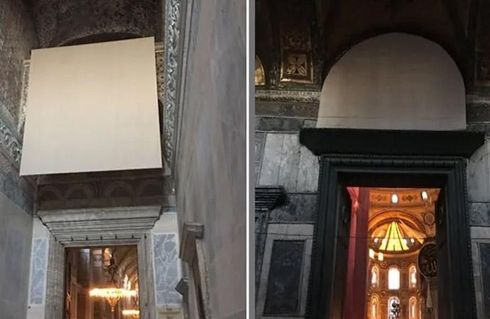 Ayasofya'da mozaikler kapatıldı