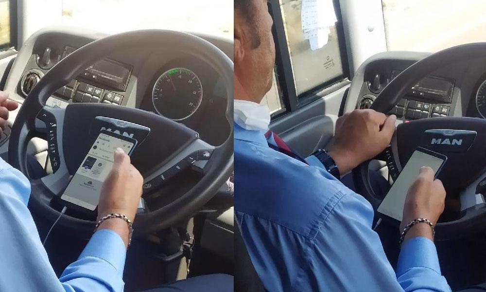 Otobüs şoförü seyir halindeyken cep telefonuyla oynayıp, çekirdek çitledi