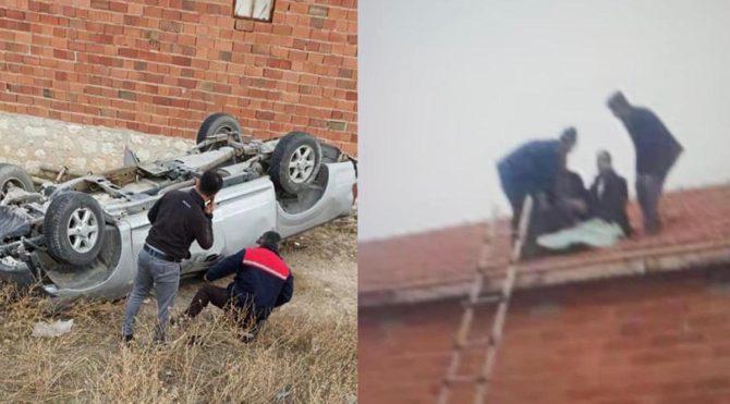Arabayla takla attı, evin çatısına düştü