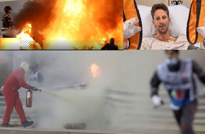 F1'de korkunç kaza! Alev topunun içinden çıktı