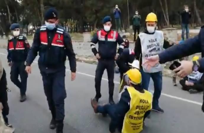 İzmir depreminden dönerek eylemlerine devam eden madencilere müdahale!