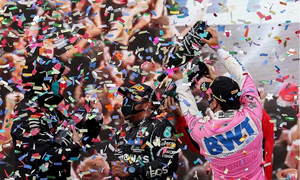 Formula 1 tarihinde bir ilk! Şampanya yerine 'gazoz' patlatıldı