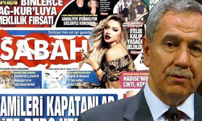Bülent Arınç'ın istifasını, Sabah gazetesi manşetinde yer vermedi