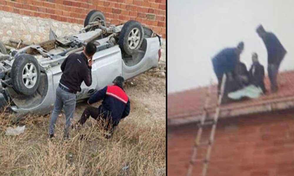 Takla atan kamyonetten fırlayan sürücü evin çatısına uçtu