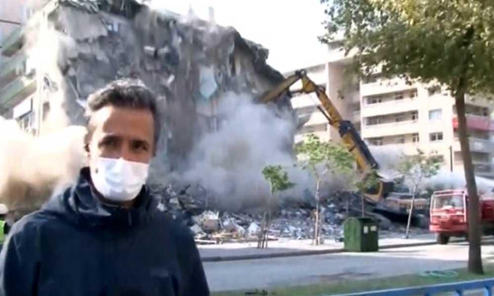 İzmir'deki hasarlı apartman canlı yayın sırasında yıkıldı