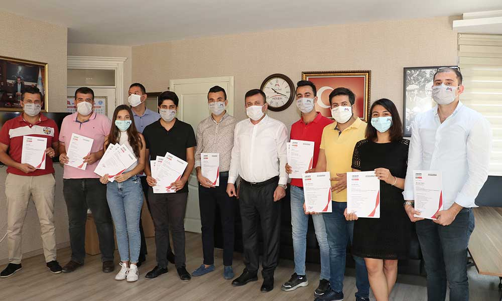Eğitimleri tamamlayan 12 personel sertifikalarını aldı