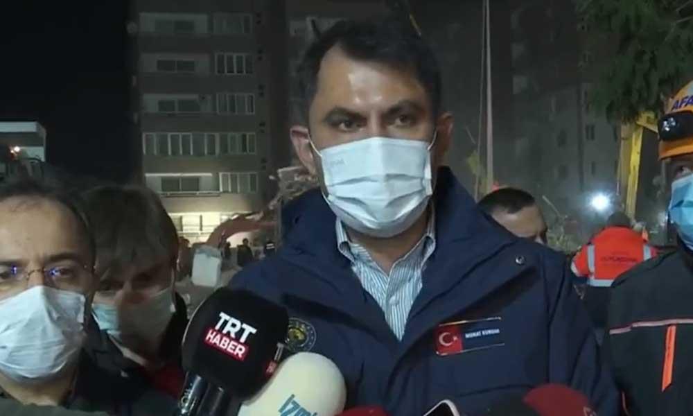 Bakan Kurum: İzmir'de yıkılan 17 binanın 16'sında arama kurtarma çalışmaları tamamlandı