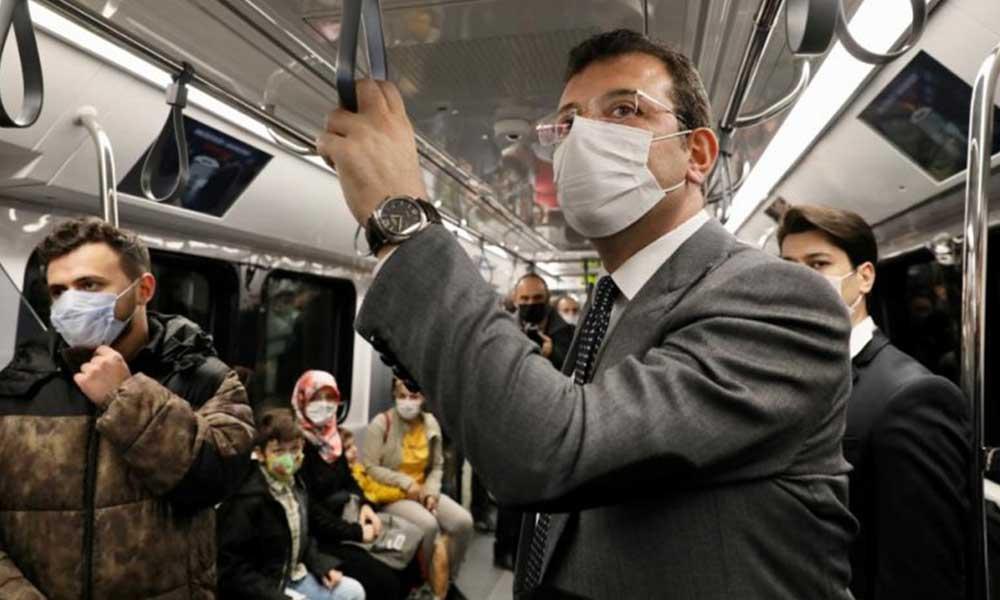 İmamoğlu, açılışına katılamadığı metro hattında yolculuk yaptı