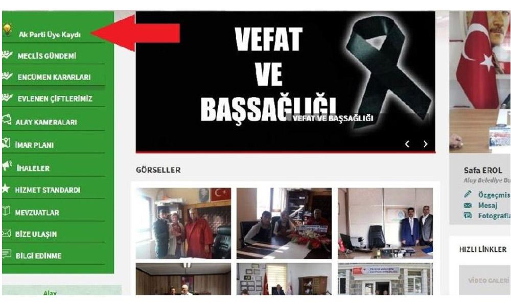 Belediyenin resmi sitesine AKP üye kaydı açıldı