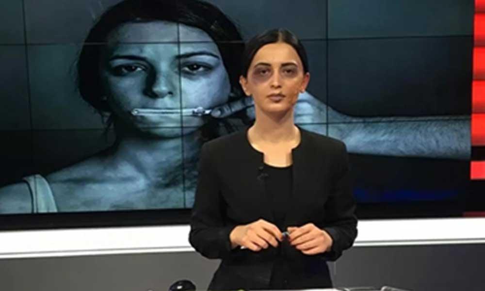 Kadına şiddete farkındalık oluşturmak için 'morluk ve yara izi makyajıyla' haber sundu!