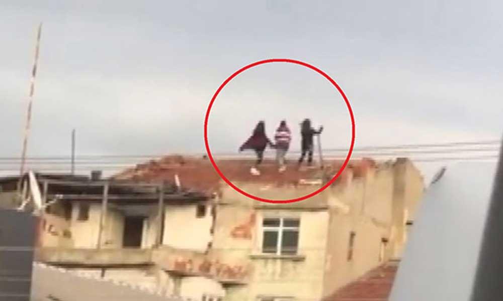 TikTok'a video yüklemek için canlarını hiçe sayıp çatıya çıktılar