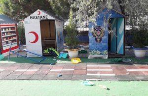 Beş şüpheli okul bahçesindeki eşyalara zarar verdi: İşte o anlar!