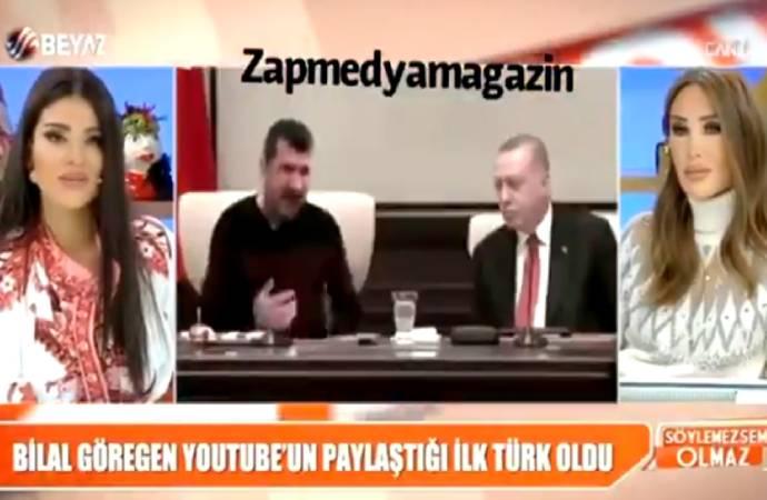 Beyaz TV'de ilginç anlar; Bilal Göregen'in Erdoğan ile montajını gerçek sanıp yorumladılar