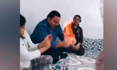 TikTok videosu uğruna, çocuklarının gözleri önünde eşinin ellerini yaktı