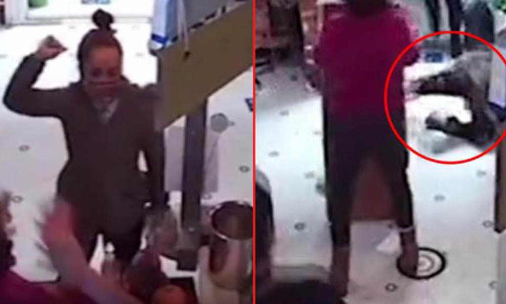 Torununa dezenfektan şişesini fırlatan kadını masayla dövdü