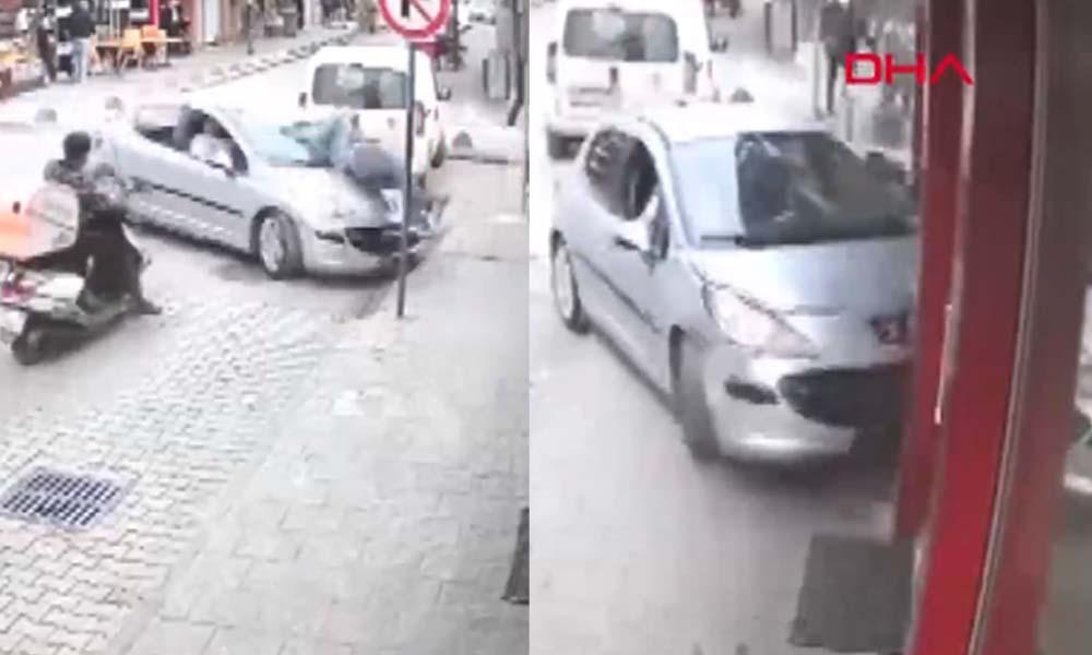 Kocaeli'de korkunç kaza: Çaptığı yaya ile restorana girdi