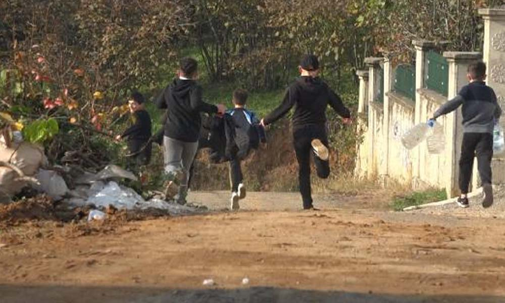 Polisi gören çocuklar kaçtı… İşte o anlar