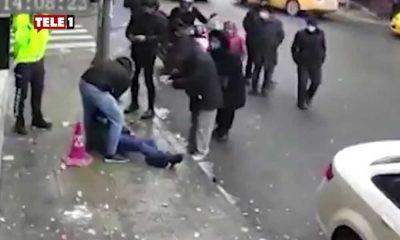 Yolda yürüyen adamın başına buz sarkıtı düştü ama polisin parmağı kıpırdamadı