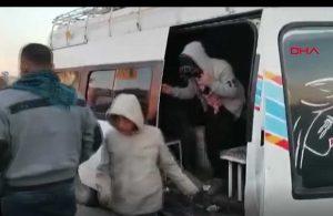 15 yolcu kapasiteli minibüsten 33 kişi indi