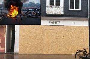 Amsterdam'da protestoculara karşı tahta plaka ve beton bloklarla önlem