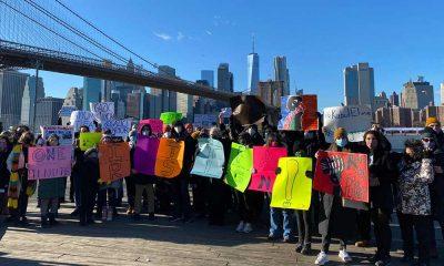 Boğaziçililer ABD'de Brooklyn Köprüsü'ne 'kelepçe' taktı
