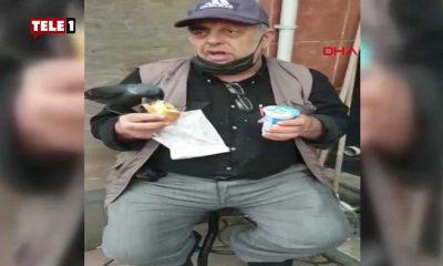 İçinizi ısıtacak görüntüler: Döner yiyen yurttaşın koluna kuş kondu, yemeğine ortak oldu