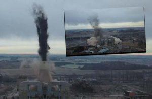 182 metrelik elektrik santrali 4 saniyede yıkıldı
