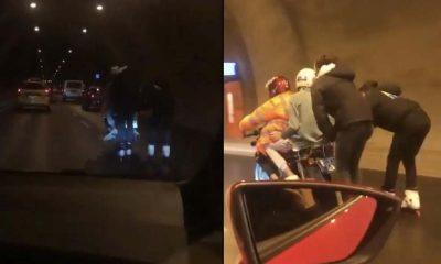 Tünelde patenli gençlerin motosiklet arkasında yolculuğu  yürekleri ağıza getirdi