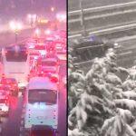 İstanbul'da kar fırtınası ve trafik