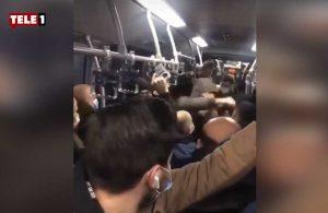 Metrobüste kaos: İki grup tekme, yumruk birbirine girdi!