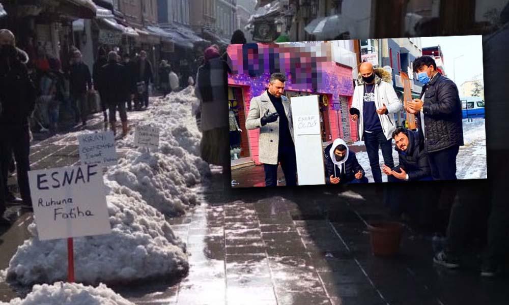 Ekonomik sıkıntı çeken esnaf, 'kardan mezar' hazırladı: Esnaf öldü
