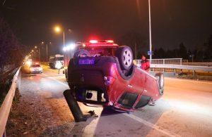 TIR'a çarparak takla atan araç sürücüsü, küfredip kaçtı