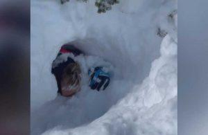 Kar küreme aracının üzerine çığ düştü