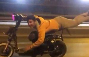 Elektrikli bisiklet sürücüsü görenleri şaşkına çevirdi