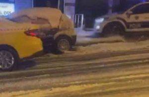 Yoldan çıkan polis aracının kaza anı böyle görüntülendi
