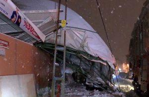 Lisenin kapalı spor salonu çatısı çöktü, 6 araç altında kaldı