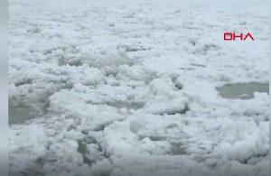 Hareket eden buz parçaları sosyal medyada gündem oldu