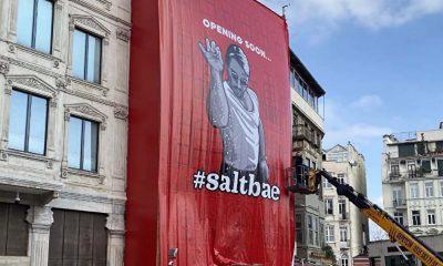 Galata'da tarihi binayı örten dev Nusret posterine tepki! İBB harekete geçti
