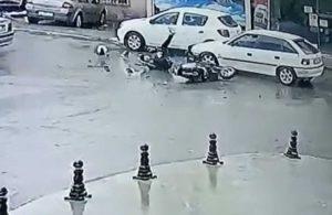 Motosikletle otomobilin çarpıştığı kaza güvenlik kamerasında