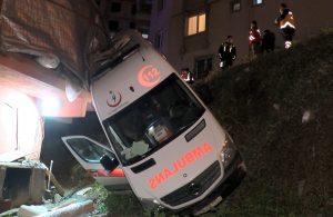 Ümraniye'de hasta taşıyan ambulans iş yerinin bahçesine uçtu: 1 yaralı