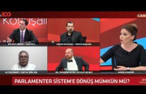 TV100'de gerginlik: Canlı yayını terk edince sunucu reklama gitti