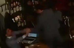 Ermeni Bakan'ın bir gazeteciye saldırdığı anlar güvenlik kamerasında