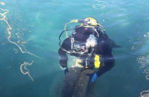 Gümbet Limanı'nda deniz dibi temizliği